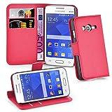 Cadorabo Hülle kompatibel mit Samsung Galaxy ACE 4 LITE Hülle in Karmin ROT Handyhülle mit Kartenfach und Standfunktion Schutzhülle Etui Tasche