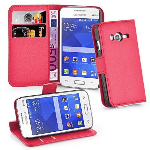 Cadorabo Hülle kompatibel mit Samsung Galaxy ACE 4 LITE Hülle in Karmin ROT Handyhülle mit Kartenfach & Standfunktion Schutzhülle Etui Tasche