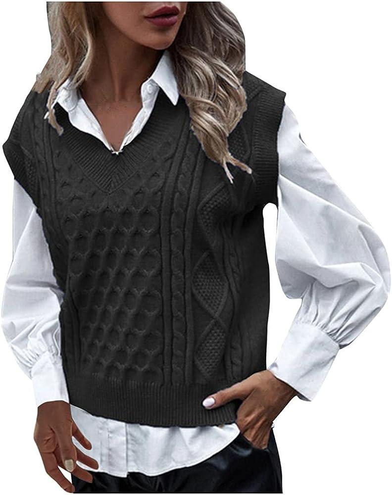 Sweater Vest Women Simple Slim Casual Teens Autumn Winter Sleeveless Sweaters