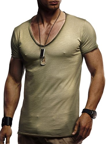 Leif Nelson Herren Oversize T-Shirt tiefer V-Ausschnitt Shirt Basic LN6280; Größe XXL, Khaki