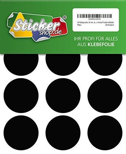 48 Klebepunkte, 50 mm, schwarz, aus PVC Folie, wetterfest, Markierungspunkte Kreise Punkte Aufkleber