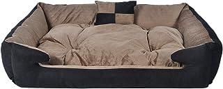 Slatters be royal store Rectangular Shape Reversable Dual Chocolate & Black Ultra Soft Ethnic Velvet Bed for Dog/Cat (Expo...