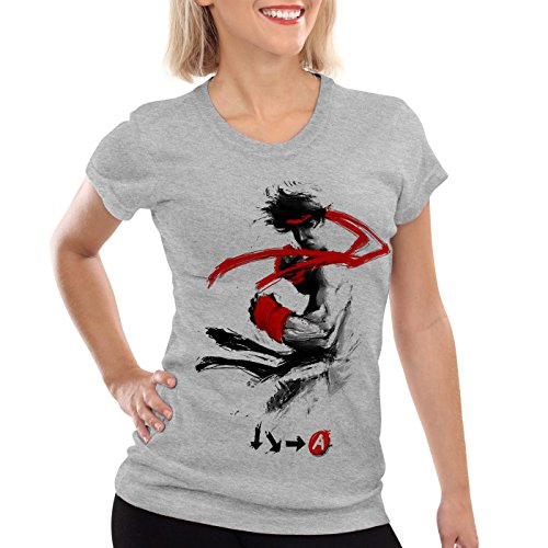 style3 Childhood Hero Fighter Damen T-Shirt final SNES ps ps2 ps3 Street Beat em up Arcade, Farbe:Grau meliert, Größe:XL