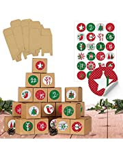 Papierdrachen DIY adventskalender om te vullen - 24 dozen om te knutselen - rood groen - 24 natuurlijk bruine dozen gemaakt van 400g/m² karton om op te zetten en te versieren - Kerstmis