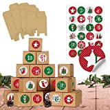 24 Adventskalender Schachteln zum Befüllen - 24 Kisten zum Basteln - Rot-Grün - naturbraune Schachteln aus 400g/m²-Karton zum Aufstellen und Dekorieren - 24 wiederverwendbare Boxen - Weihnachten