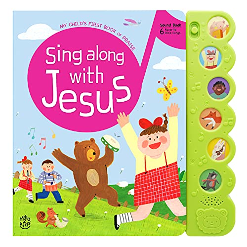 Hello 2 Kids Sing Along with Jesus - Early Bird Christian Sound Book Musical Toy - 6 Bible Songs & Illustrations   Gift for Babies, Toddlers  Baptisms, Birthdays