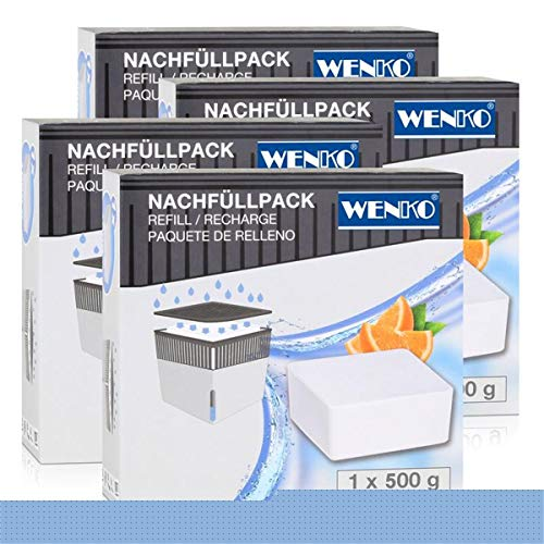 Wenko 50261100 Design Raumentfeuchter Cube Nachfüller Orange 500g (4er Pack)