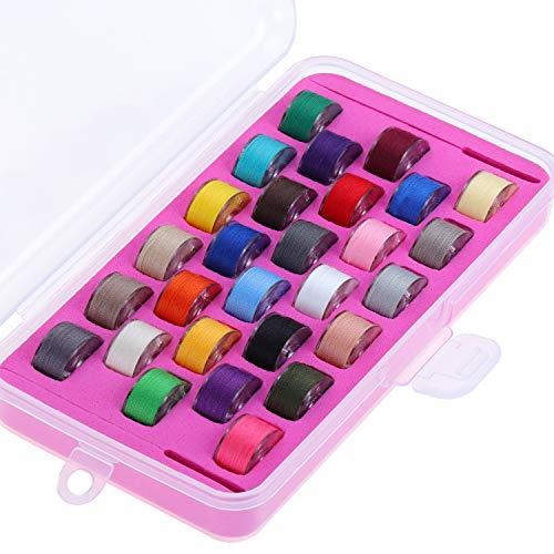 New brothread 28pcs Colores Variados 60S/2 (90WT) hilo de canilla preenrollado Plástico Tamaño A SA156 para máquina de coser y bordar DIY hilo de coser de hilo de bordar