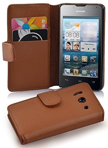 Cadorabo Hülle für Huawei Ascend Y300 - Hülle in Cognac BRAUN – Handyhülle mit Kartenfach aus struktriertem Kunstleder - Case Cover Schutzhülle Etui Tasche Book Klapp Style