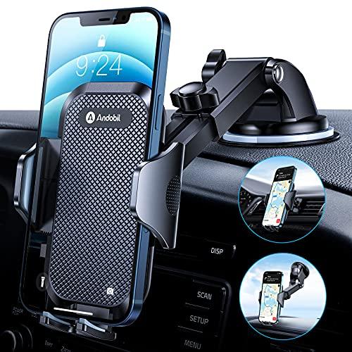 andobil Handyhalterung Auto [ Hält Bombenfest und Robuste ] Universal KFZ Handyhalterung Saugnapf und Lüftungsclip 360° Drehung Handy Halterung pkw für Alle Smartphones, z.B iPhone Samsung Huawei LG