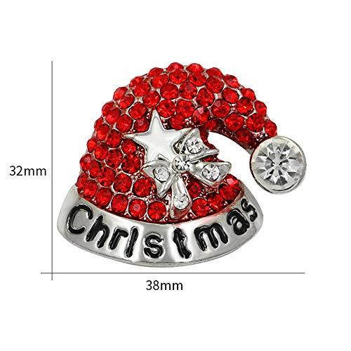 HUNANANA Hochwertige Rote Strass Weihnachtsmütze Broschen