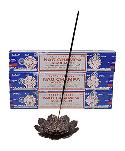 Sparset: 3X Nag Champa Räucherstäbchen Satya + hochwertigen Messing Räucherstäbchenhalter