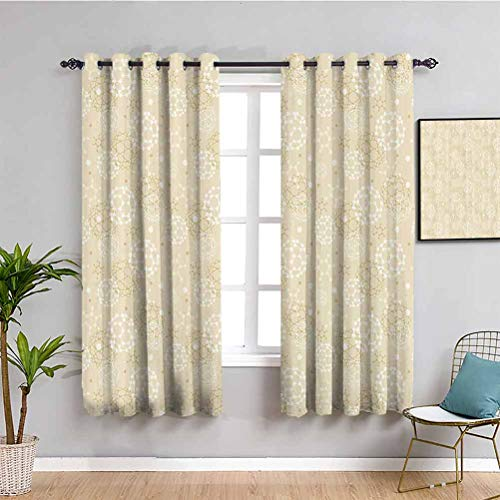 Ivory Farmhouse Curtain Science Molecules Motif Chemical Bonds Circular Atoms in Soft Toned Form Design Protective Furniture W55 x L39 Inch Cream White