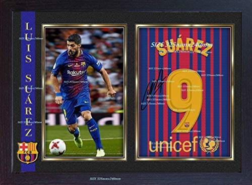 new Luis Suarez Barcelona soccer autograph signed poster photo print FRAMED (13 in x 10 in approx)