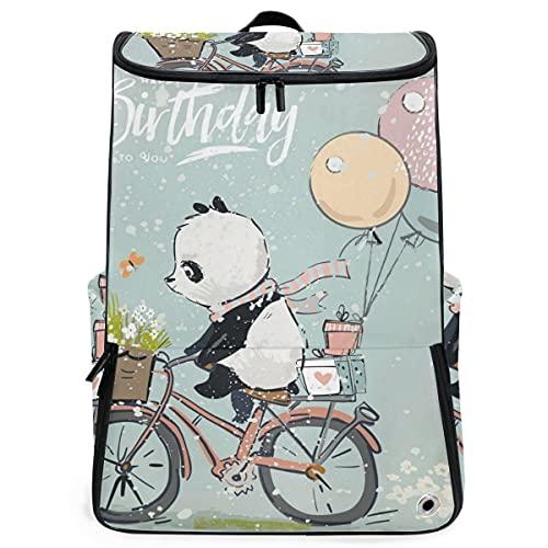 YUDILINSA Viaje Mochila,Pequeño Panda en Globos de Bicicleta,Universitaria Mochila,Laptop Backpack con Compartimento para zapatos