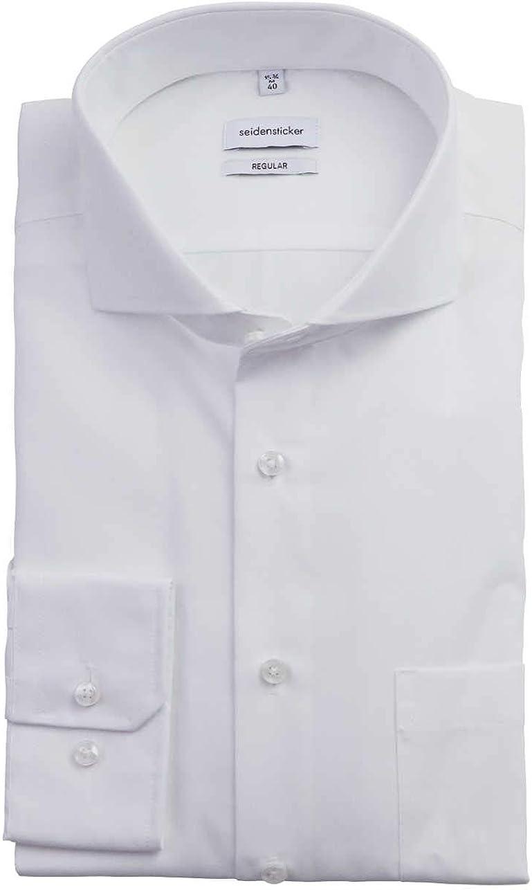 Langarm Camisa para Hombre Seidensticker Einfarbiges Hemd Mit Kent-Kragen Hohem Tragekomfort Und Struktur Slim Fit