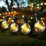 ZWOOS Guirnaldas Luminosas Enchufable, 7m 25 Bombillas G40 con 2 Bombillas de Repuesto, Luz Exterior Enchufable para Jardín, Balcón, Terraza - Blanco Cálido
