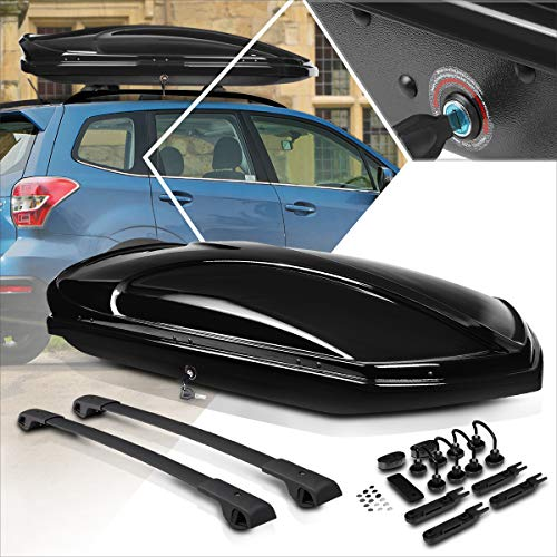 Car Rooftop Waterproof Black Cargo Storage Luggage Box w/Cross Bar Compatible with 14-18 Subaru...