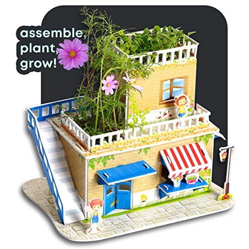 Puzzle Jardín 3D - Construya una Floristería 3D y Cultive Cosmos Reales y Flores Violetas | Piezas Foam 3D, Fácil de Construir, Incluye Tierra, Semillas e Instrucciones | Regalo educativo STEM niños