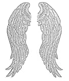 Large Angel Wing Rhinestone Iron On Hotfix Transfer Decal Bling- 10' by 14'