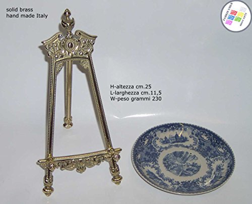 Présentoir reggipiatto chevalet baroque laiton H. cm.25 pour assiettes de collection