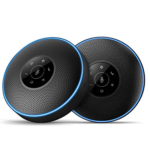 best speakerphone in 2021 for working from home Bluetooth Speakerphone -Daisy Chain/Use Alone up to 16 attendees, eMeet M220 Professional Wireless Speakerphone 360°Voice Pick-up 8 AI Noise Cancellation Mics Skype Speakerphone for Conference Calls