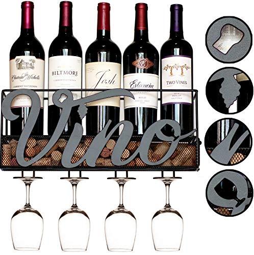 MKZ Products Wall Mounted Wine Rack | Wine Bottle Holder| Hanging Stemware Glass Holder | Cork Storage | Storage Rack | Home & Kitchen Decor (VINO - Black)
