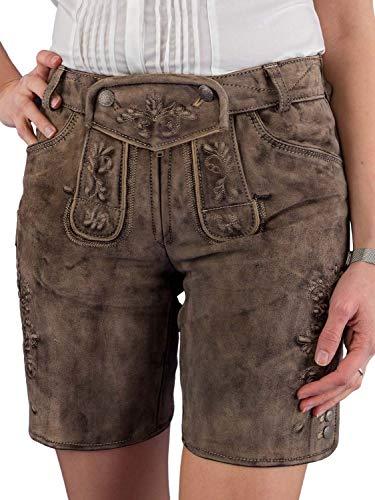 Spieth & Wensky Kurze Lederhose Damen Vintage Wildbock Nafisa ZV lehm Sand 36