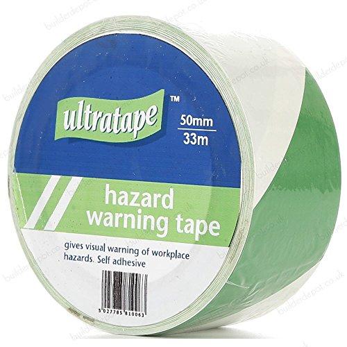 Ultratape Rhino - Nastro di pericolo 50 mm x 33 m, colore: verde e bianco (confezione da 2)