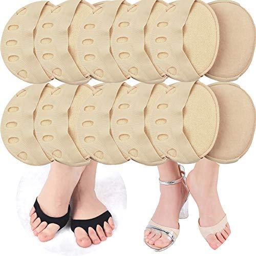 MTDH 10 Paar bequeme, rutschfeste, korrigierende Zehensocken, Vorderfußpolster, unsichtbare Fünf-Finger-Socken für Frauen mit hohen Absätzen und Sandalen (Alles nackt)