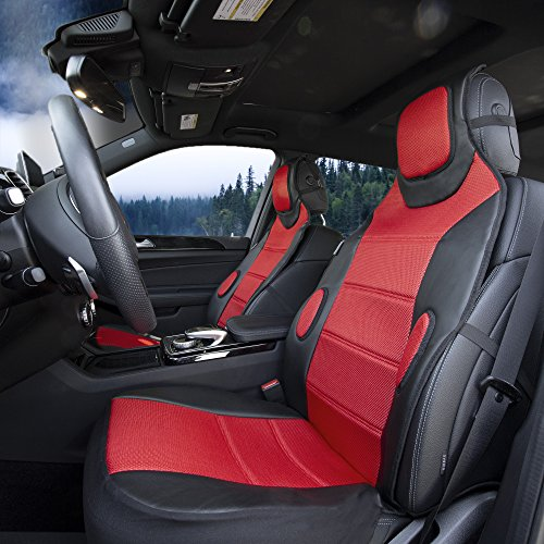 TLH Leatherette Cushion Pads with 3D Air Mesh Front, Airbag Compatible, Red Color-Universal Fit for Cars, Auto, Trucks, SUV