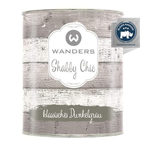 Wanders24 Kreidefarbe (750 ml, klassisches Dunkelgrau) Holzfarbe für Shabby Chic Look - Möbelfarbe einfach zu verarbeiten - Möbellack auf Wasserbasis - Made in Germany