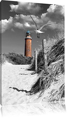 Leuchtturm mit Möwe an Strandweg schwarz/weiß Format: 60x40 auf Leinwand, XXL riesige Bilder fertig gerahmt mit Keilrahmen, Kunstdruck auf Wandbild mit Rahmen, günstiger als Gemälde oder Ölbild, kein Poster oder Plakat