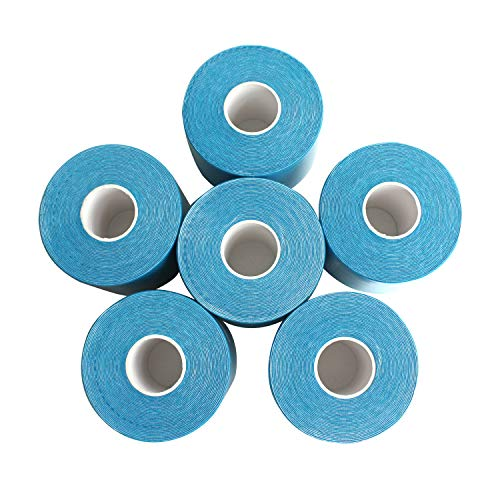 Kinesiology Tape Water Resistant Uncut Sports Tape - 6 Count 2 in x 16.5 ft - Professional Kinesiology Therapeutic Sports Tape,Blue,Latex Free