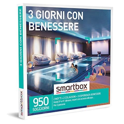 Smartbox - 3 Giorni con Benessere - Cofanetto Regalo Coppia, 2 Notti con Colazione e Pausa Relax per 2 Persone, Idee Regalo Originale