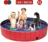 femor Pet Pool Foldable, 160×30cm Paddling Pool for Pets&Kids, Large Non-Slip Swimming Bathing...