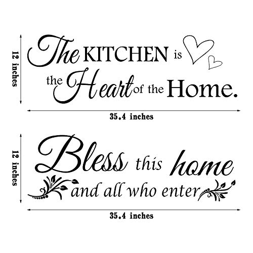 2 Sheets Kitchen Wall Decals The Kitchen Quote Wall Stickers Bless This Home and All Who Enter Kitchen Vinyl Wall Quote Art Dining Room Entryway and Living Room Wall Decal Home Decor, 12 x 35.4 Inch