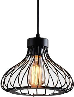E27 Retro Industrielle Plafonnier en Métal Noir Cage, Suspension Lustres,suspensio Lampes, Luminaires intérieur industriel...