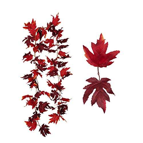 Hpory Artificial Autumn Maple Leaves, Autumn Leave Vines, Fall Maple Leaves Garland Hanging Plant, Mixed Fall Colored Leaf for Indoor Outdoor Party Fireplace Christmas Decor