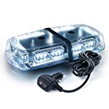 Xprite White 36 LED Rooftop Mini Bar Strobe Lights High Intensity Emergency Hazard Warning Beacon Light w/Magnetic Base for Safety Caution Vehicles Construction Trucks Snow Plowing Cars Postal Vans