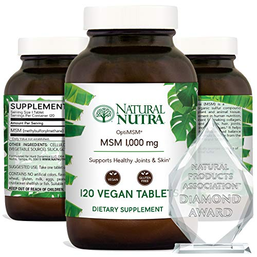 Natural Nutra OptiMSM with Methylsulfonylmethane, Pure MSM Supplement with Sulfur for Joint Support and Bone Health, 1000 mg, 120 Vegan Tablets