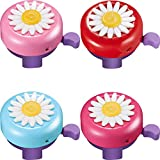 4 Pieces Kids Bike Bell, Bicycle Bell Girl Scooter Bell Flowers Cycling Ring Bike Horn Toddler Bike Accessories Parts