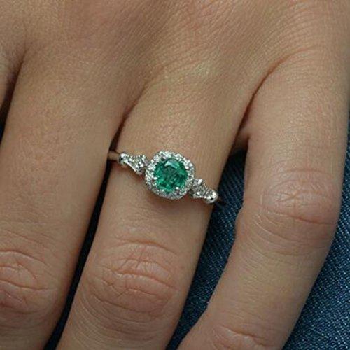 WEIHEEE Anillo de compromiso cuadrado simple de esmeralda para mujer, ideal como regalo para ocasión femenina.