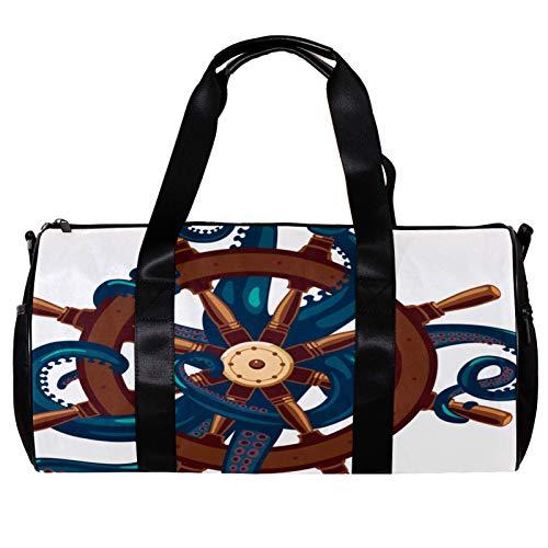 Borsone da palestra rotonda con tracolla staccabile polpo tenere un elmo allenamento borsa per la notte per donne e uomini