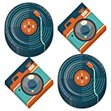 Hipster Guy Party Supplies - Happy Birthday Trendy Record Paper Dessert Plates and Cool Camera Beverage Napkins (Serves 16)
