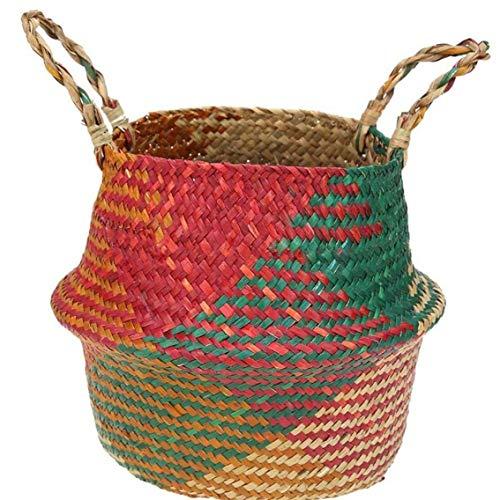 Seagrass del Vientre de la Cesta del almacenaje con Asas Cuenca Planta Tejida Plegable de Almacenamiento Pot Escudo de lavandería Abarrotes Picnic en la Playa Bolsa (l)
