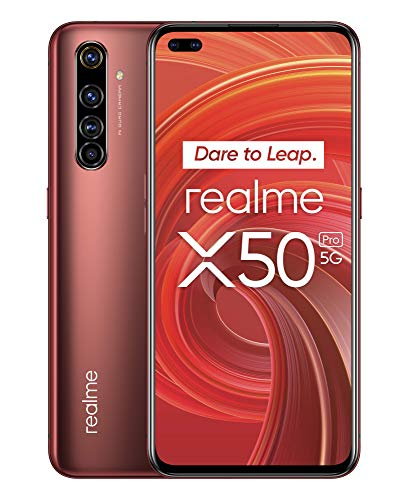 "realme X50 Pro – Smartphone 5G de 6.44"", 12 GB RAM + 256 GB ROM, procesador OctaCore Qualcomm Snapdragon 865, cuádruple cámara AI 64MP, MicroSD, Rust Red"