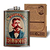 Mustache Elixir - 8oz Flasks For Liquor For Men - Stainless Steel Flask - Groomsmen Gifts - Whiskey Flask - Groomsmen Flask Funny - Alcohol Flask - Funny Flask For Men - Hip Flask - Trixie And Milo