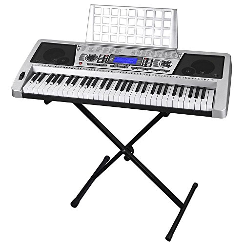 AW 61 Key Electronic Keyboard Piano Organ Music Electric LCD Display Sheet Music Stand with Black Adjustable X-Stand Silver