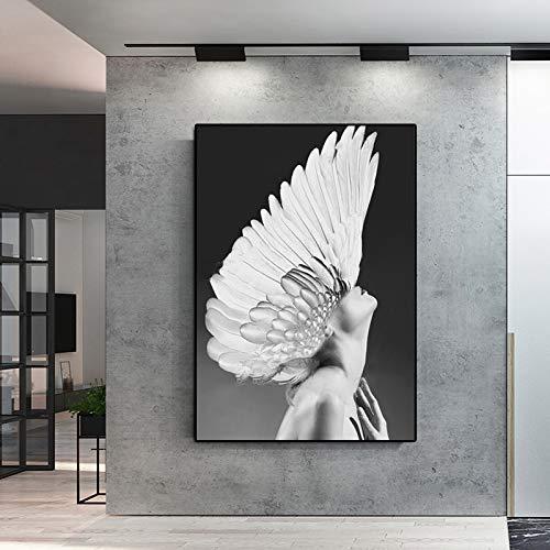 Frameloze olieverfschilderij muurkunst canvas Ng abstracte portretprint zwart en wit meisje met wandafbeeldingen voor woonkamer Ro